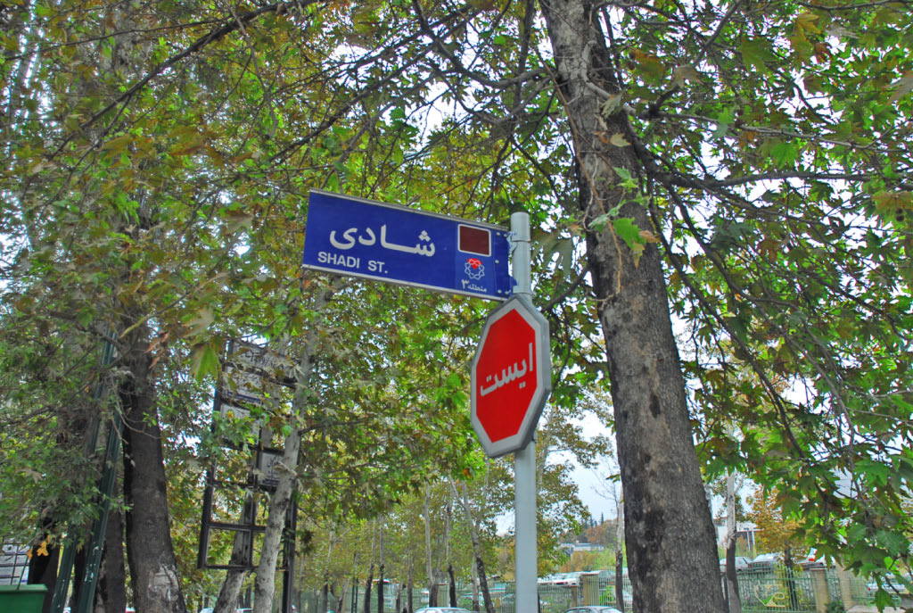 Tehran: street signs and redundant information