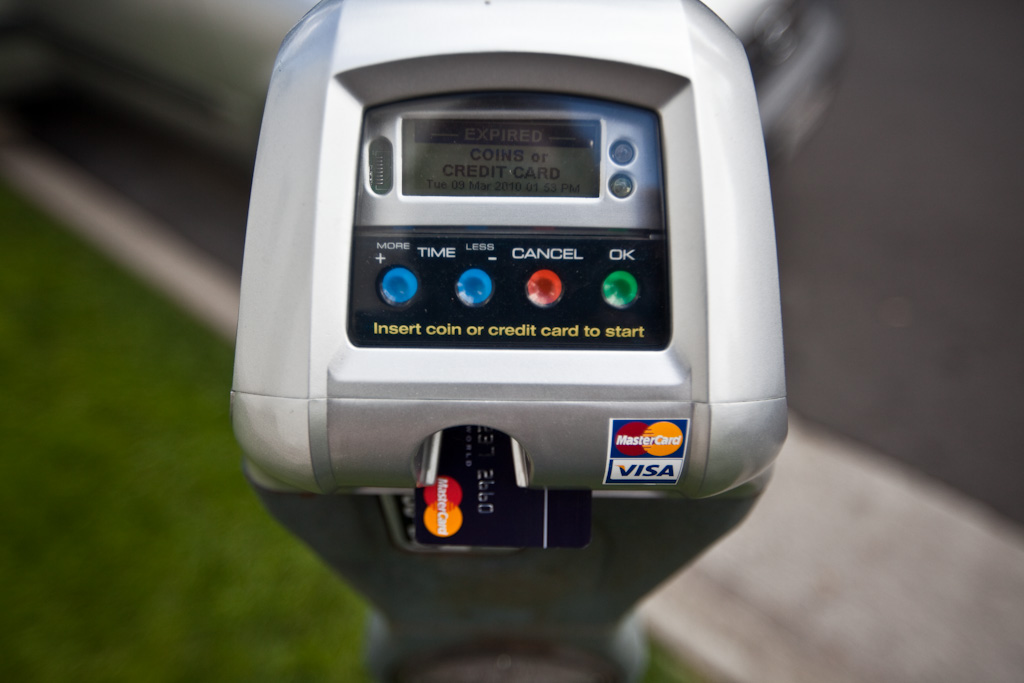 Bel Air: credit cards accepted at this branded parking meter