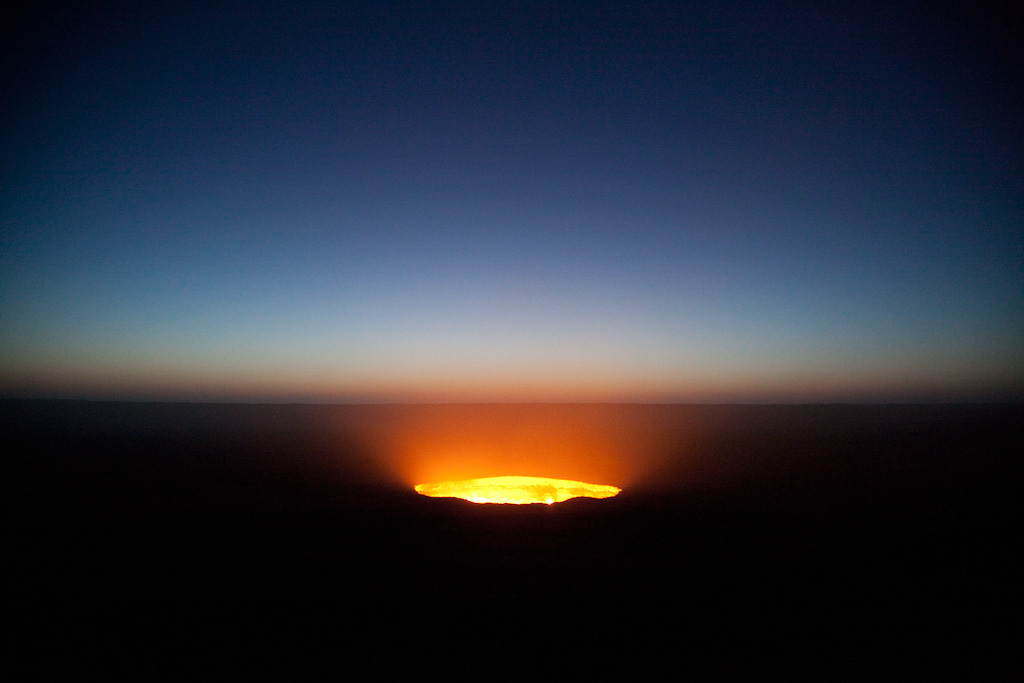 Darvaza: gas crater at dawn