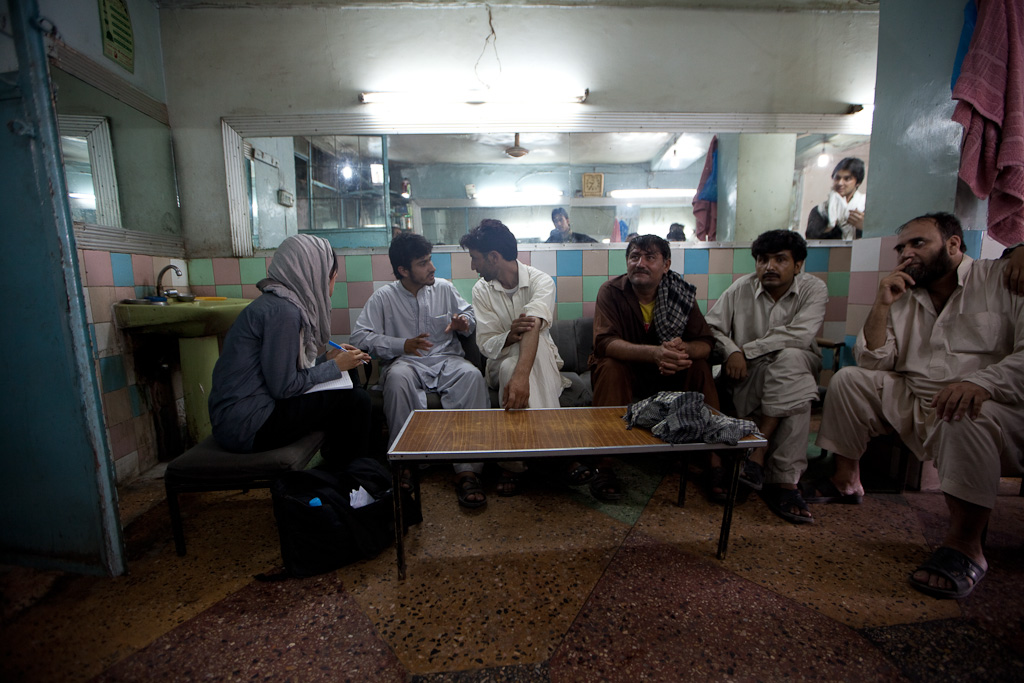 Jalalabad: barber shop interviews